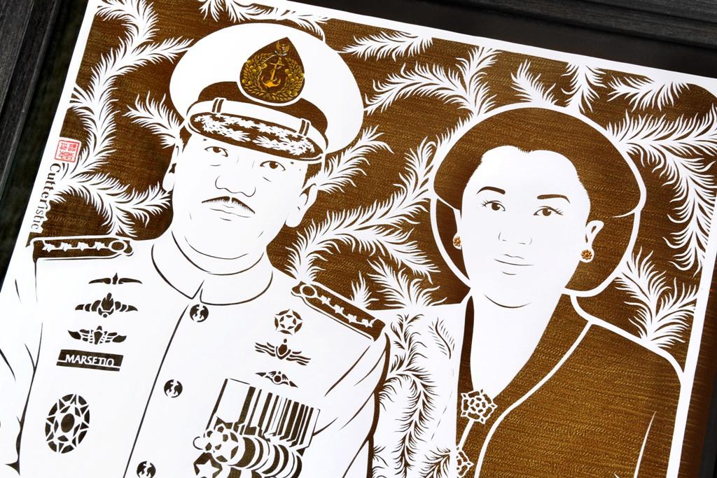 Sketsa wajah paper cutting untuk kado perusahaan yang unik & eksklusif, tanda terima kasih untuk atasan, bos/kolega